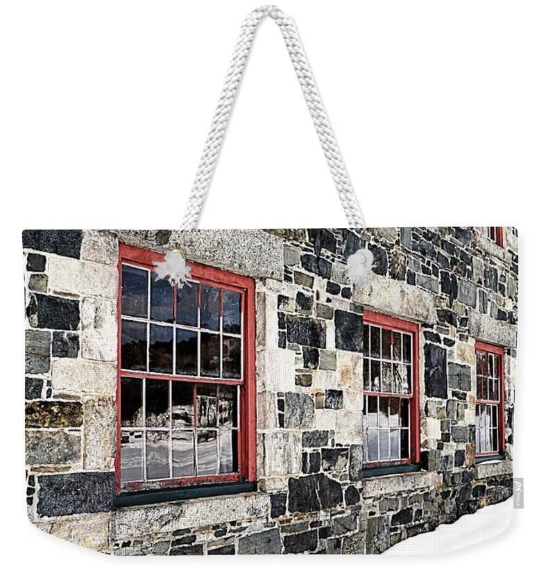 Barn Weekender Tote Bag featuring the photograph The Stone Mill At The Enfield Shaker Museum by Edward Fielding
