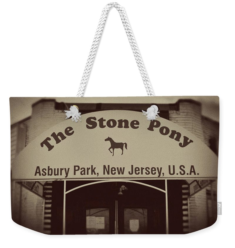 The Stone Pony Vintage Asbury Park New Jersey Weekender Tote Bag featuring the photograph The Stone Pony Vintage Asbury Park New Jersey by Terry DeLuco
