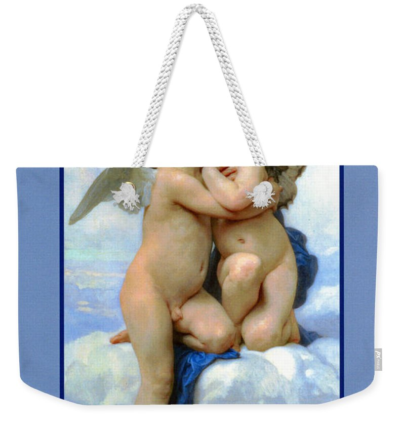Cupid And Psyche Weekender Tote Bag featuring the digital art The Story Of Cupid And Psyche by William Bouguereau