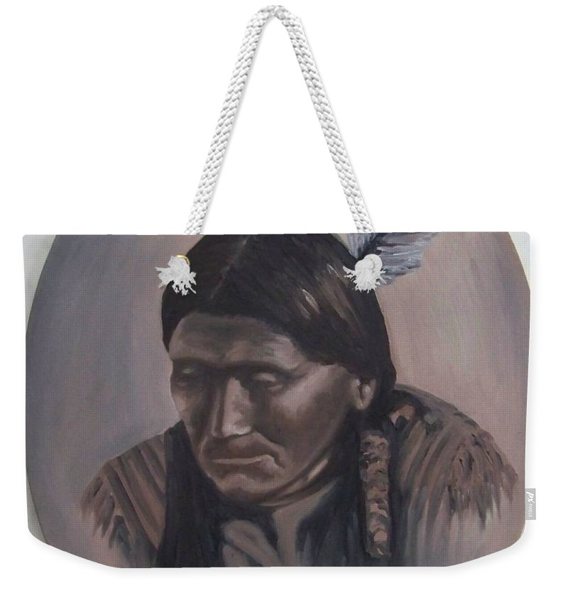 Michael Weekender Tote Bag featuring the painting The Story Teller by Michael TMAD Finney