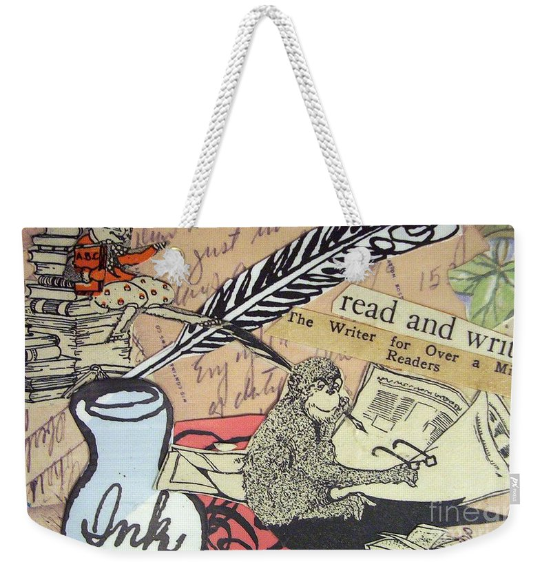 Book Weekender Tote Bag featuring the drawing The Studious Rabbit And The Monkey by Eloise Schneider Mote