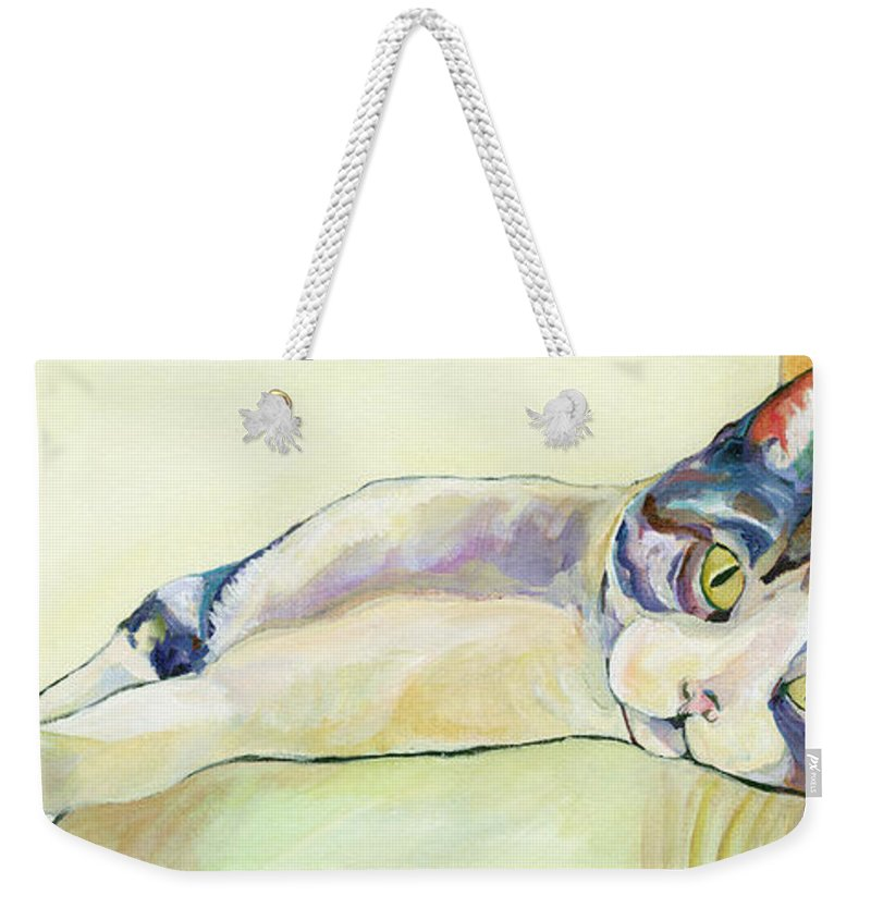 Pat Saunders-white Canvas Prints Weekender Tote Bag featuring the painting The Sunbather by Pat Saunders-White