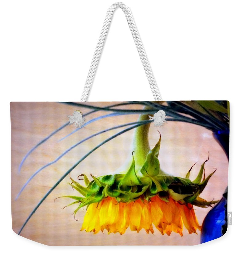 Setting Weekender Tote Bag featuring the photograph The Sunflower Speaks by Deborah Crew-Johnson