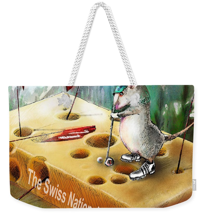 Golf Humour Weekender Tote Bag featuring the painting The Swiss National Course by Miki De Goodaboom