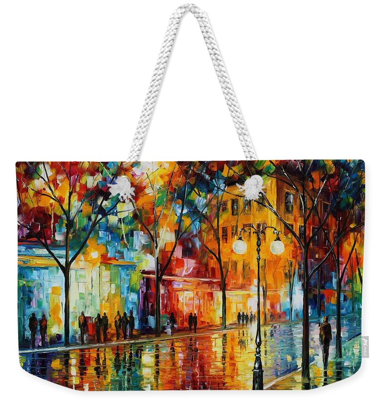 Leonid Afremov Weekender Tote Bag featuring the painting The Tears Of The Fall - Palette Knife Oil Painting On Canvas By Leonid Afremov by Leonid Afremov
