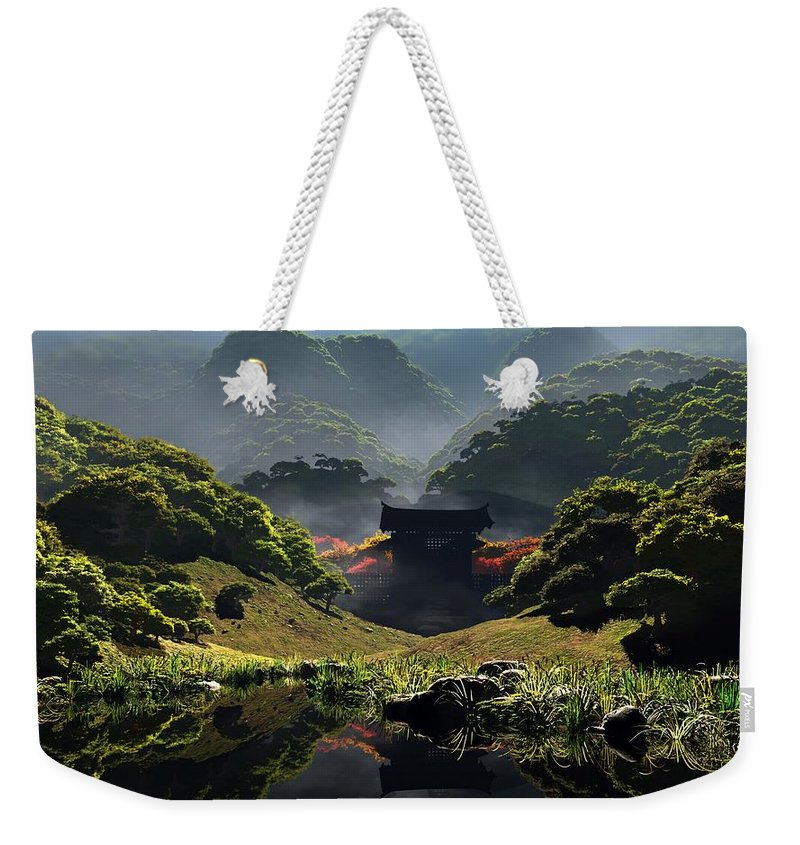 Green Weekender Tote Bag featuring the digital art The Temple Of Perpetual Autumn by Cynthia Decker