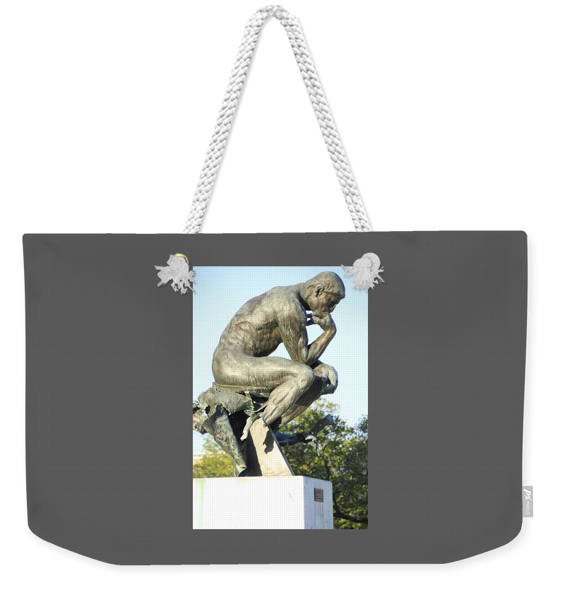 Rodin Weekender Tote Bag featuring the photograph The Thinker Cleveland Art Statue by Valerie Collins