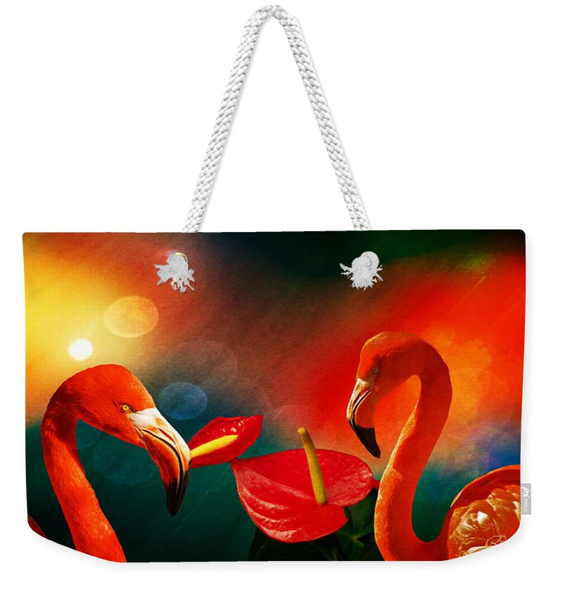 Anthurium Weekender Tote Bag featuring the photograph The Three Flamingos - Featured In 'feathers And Beaks' 'wildlife' And 'comfortable Art' Groups by Ericamaxine Price