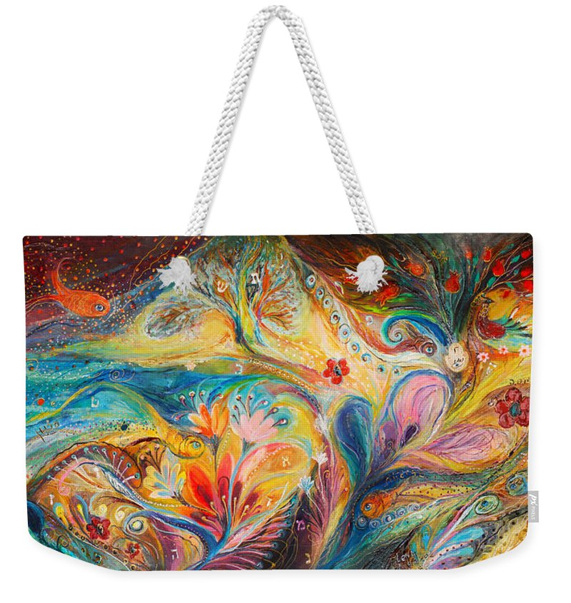 Original Weekender Tote Bag featuring the painting The Timeless Characters by Elena Kotliarker
