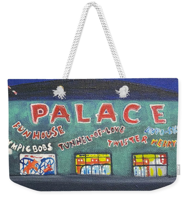 Tillie Of Asbury Park Weekender Tote Bag featuring the painting The Tiny Tiny Palace by Patricia Arroyo