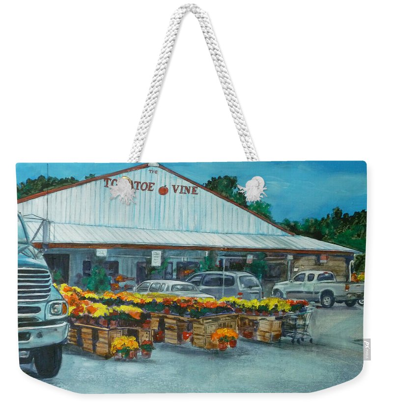 Vegetable Stand Weekender Tote Bag featuring the painting The Tomatoe Vine by Bryan Bustard