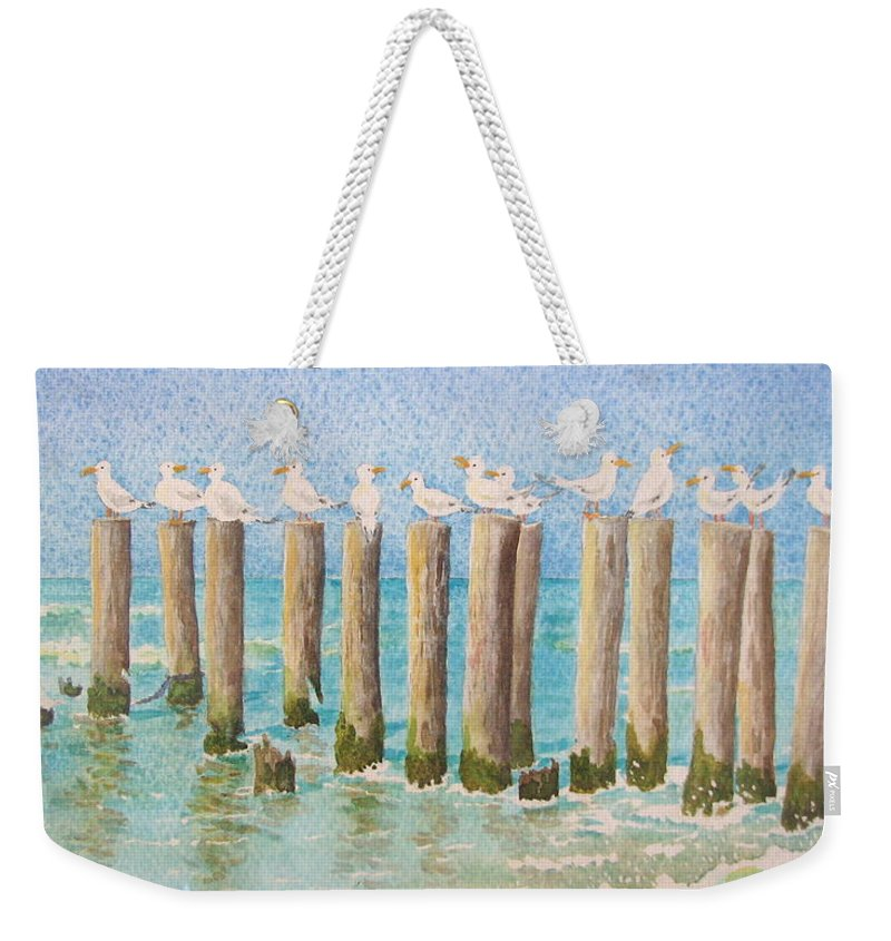 Seagulls Weekender Tote Bag featuring the painting The Town Meeting by Mary Ellen Mueller Legault
