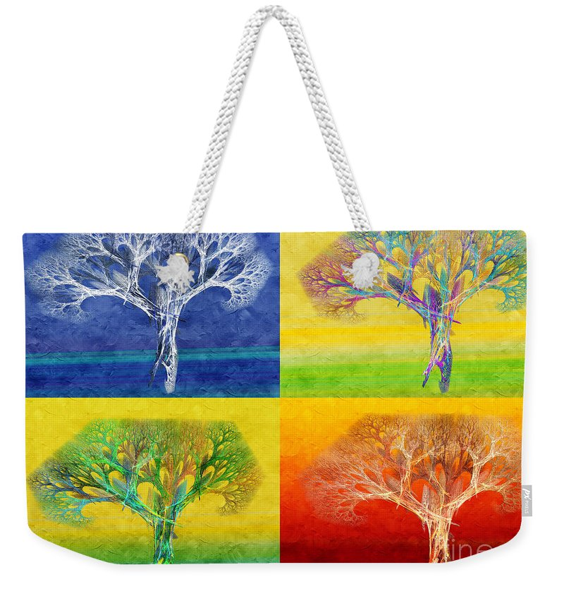 Andee Design Abstract Weekender Tote Bag featuring the digital art The Tree 4 Seasons - Painterly - Abstract - Fractal Art by Andee Design