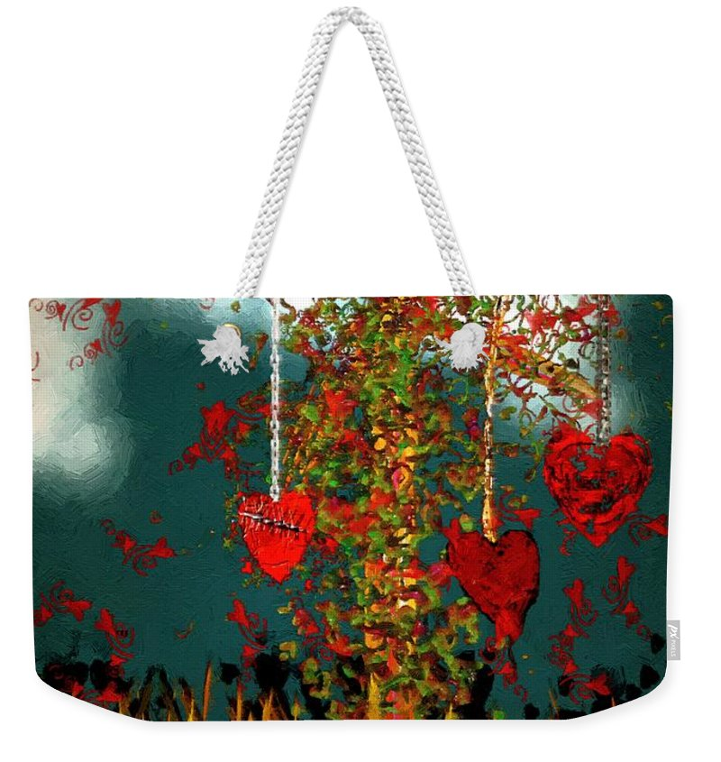 Hearts Weekender Tote Bag featuring the painting The Tree Of Hearts by RC DeWinter