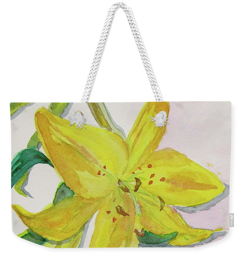 Lily Weekender Tote Bag featuring the painting The Trickiness Of Yellow by Beverley Harper Tinsley