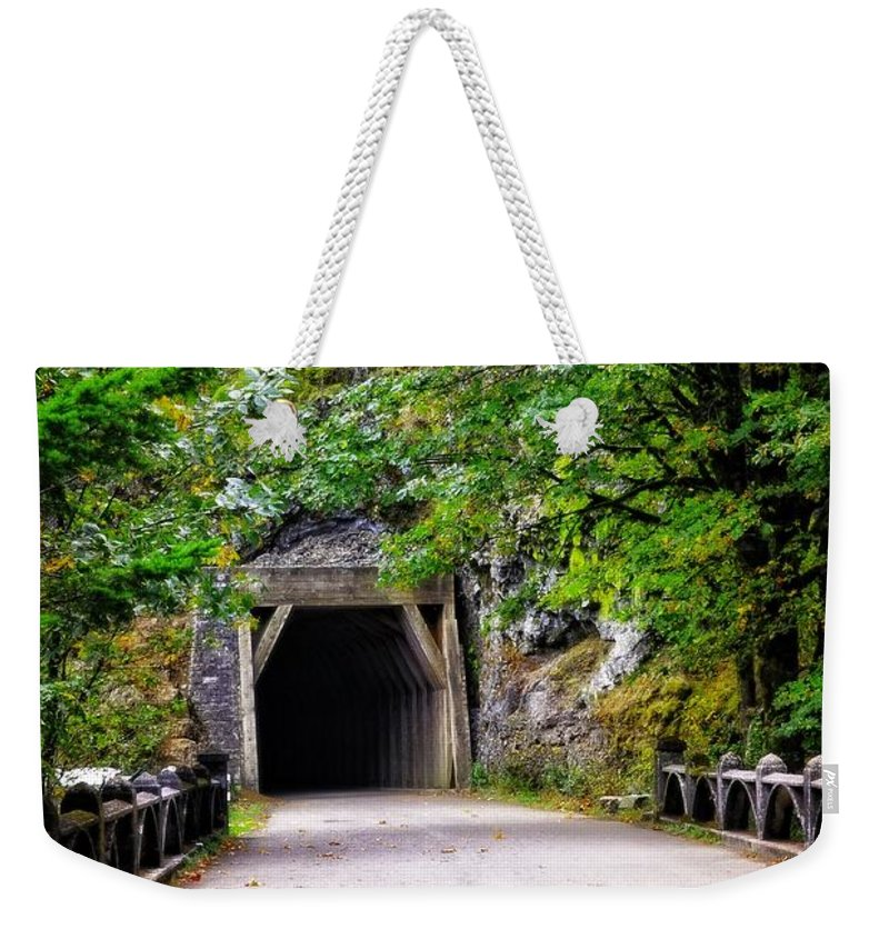 Multnomah Scenic Route Weekender Tote Bag featuring the photograph The Tunnel On The Scenic Route by Image Takers Photography LLC - Laura Morgan