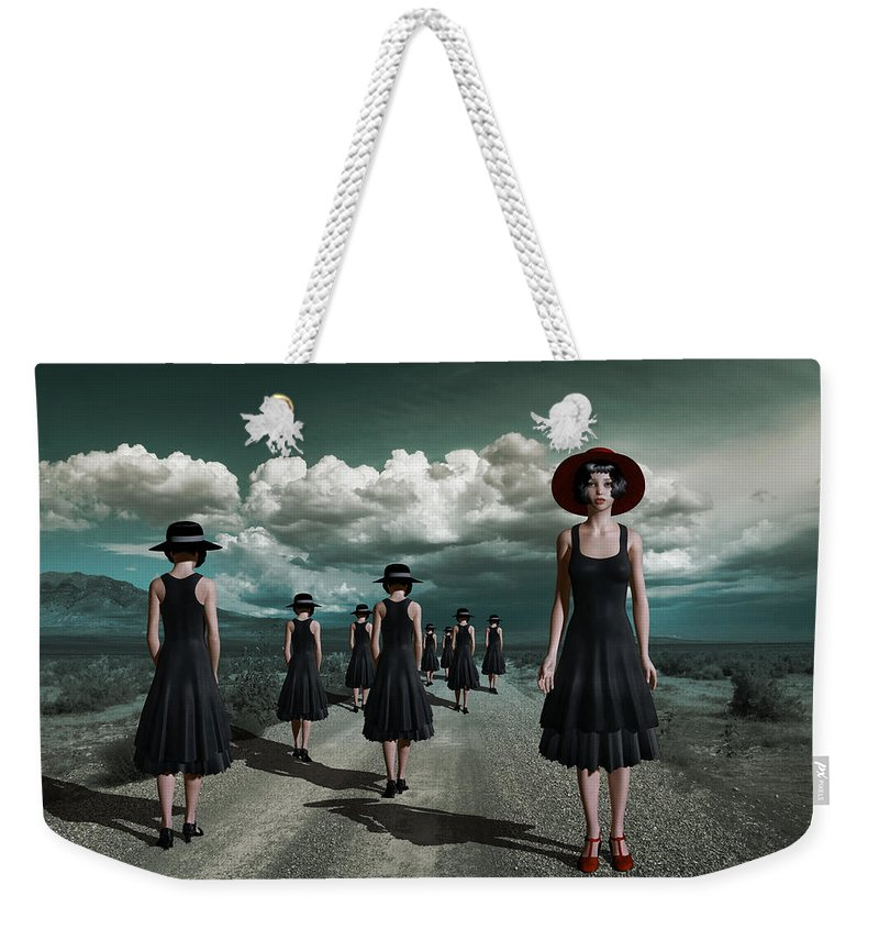 Surreal Weekender Tote Bag featuring the mixed media The Turn by Britta Glodde