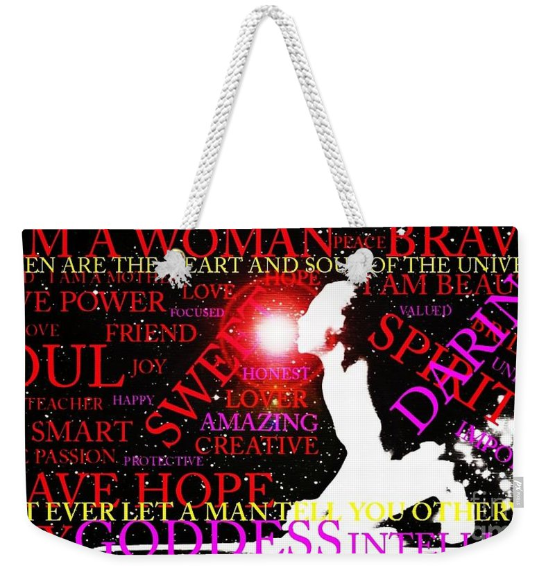 Words Weekender Tote Bag featuring the photograph The Universal Woman by Jessica Shelton