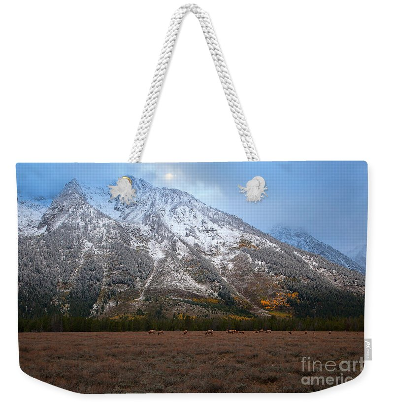 Teton National Park Weekender Tote Bag featuring the photograph The Valley Floor by Jim Garrison