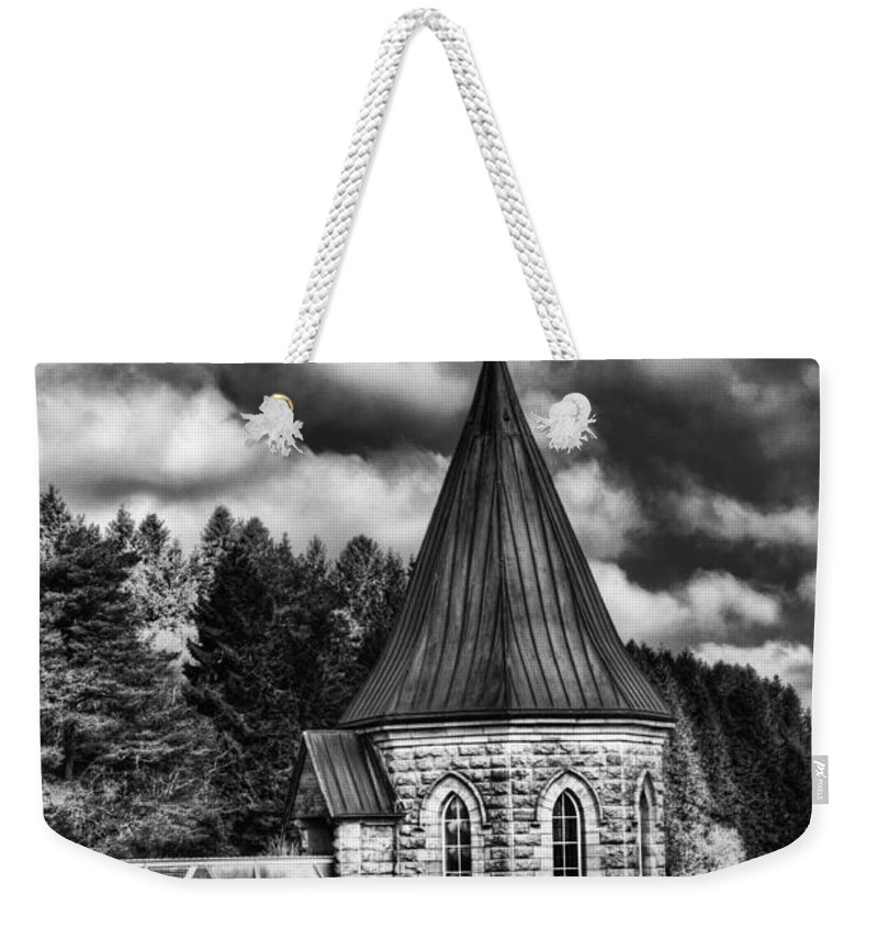 The Valve Tower Weekender Tote Bag featuring the photograph The Valve Tower Mono by Steve Purnell