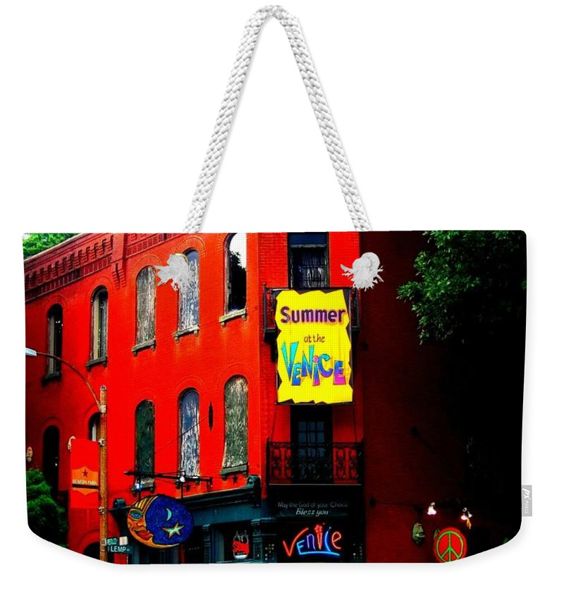 Weekender Tote Bag featuring the photograph The Venice Cafe' Edited by Kelly Awad