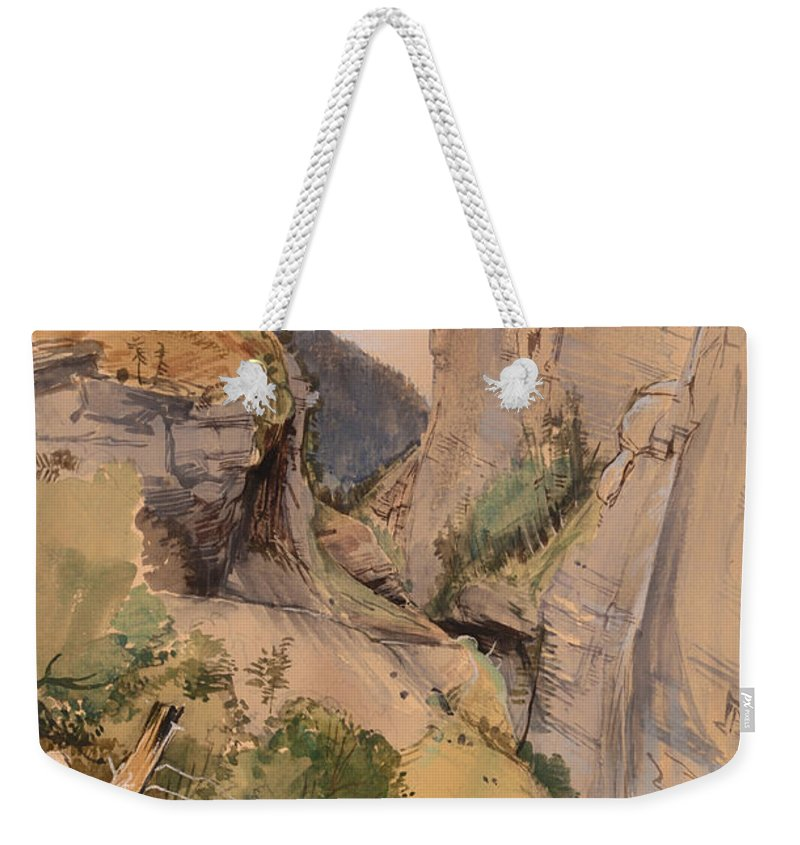Painting Weekender Tote Bag featuring the painting The Via Mala by Mountain Dreams