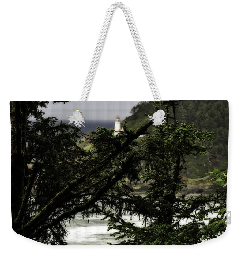 Heceta Weekender Tote Bag featuring the photograph The View Of The Heceta Lighthouse by Image Takers Photography LLC