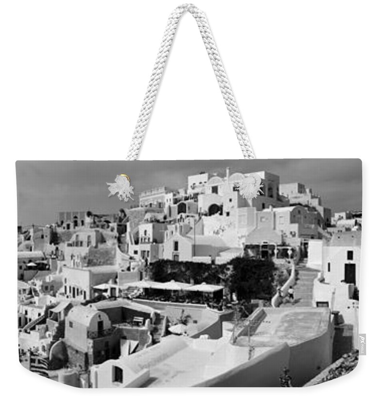 Island Weekender Tote Bag featuring the photograph The Village Of Oia 2 by Jack Daulton