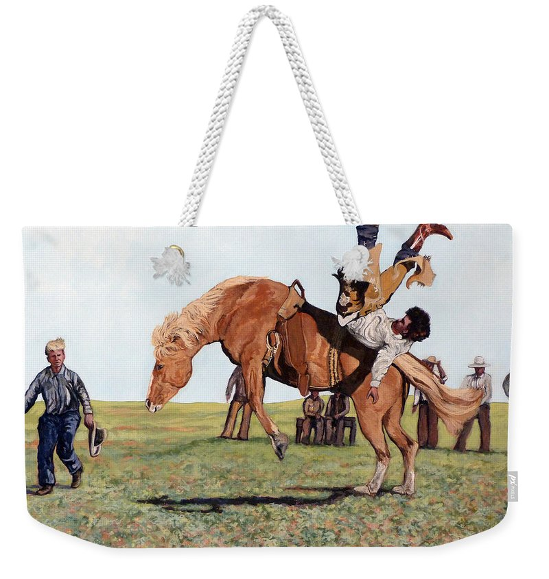 Bull Weekender Tote Bag featuring the painting The Waiting Line by Tom Roderick