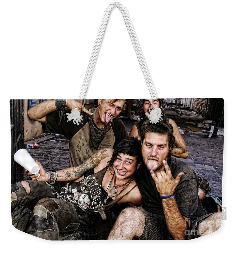 New Orleans Weekender Tote Bag featuring the photograph The Wanderers In New Orleans by Kathleen K Parker