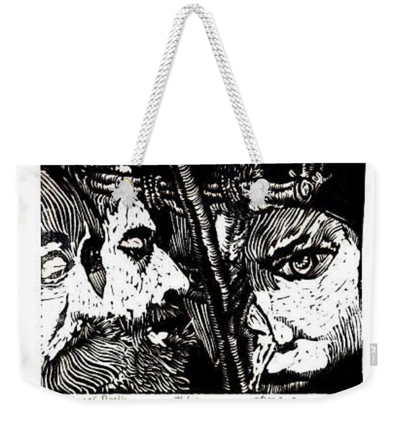 Spectators At The Crucifiction Of Jesus Christ Weekender Tote Bag featuring the relief The Watchers Of Death by Seth Weaver