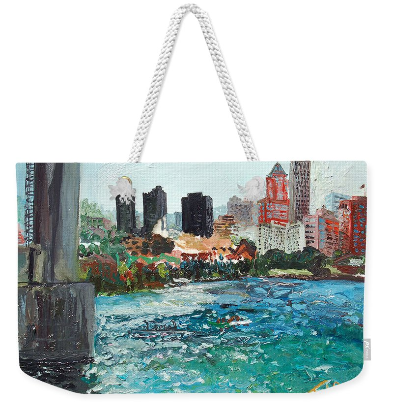 Waterfront Weekender Tote Bag featuring the painting The Waterfront by Joseph Demaree