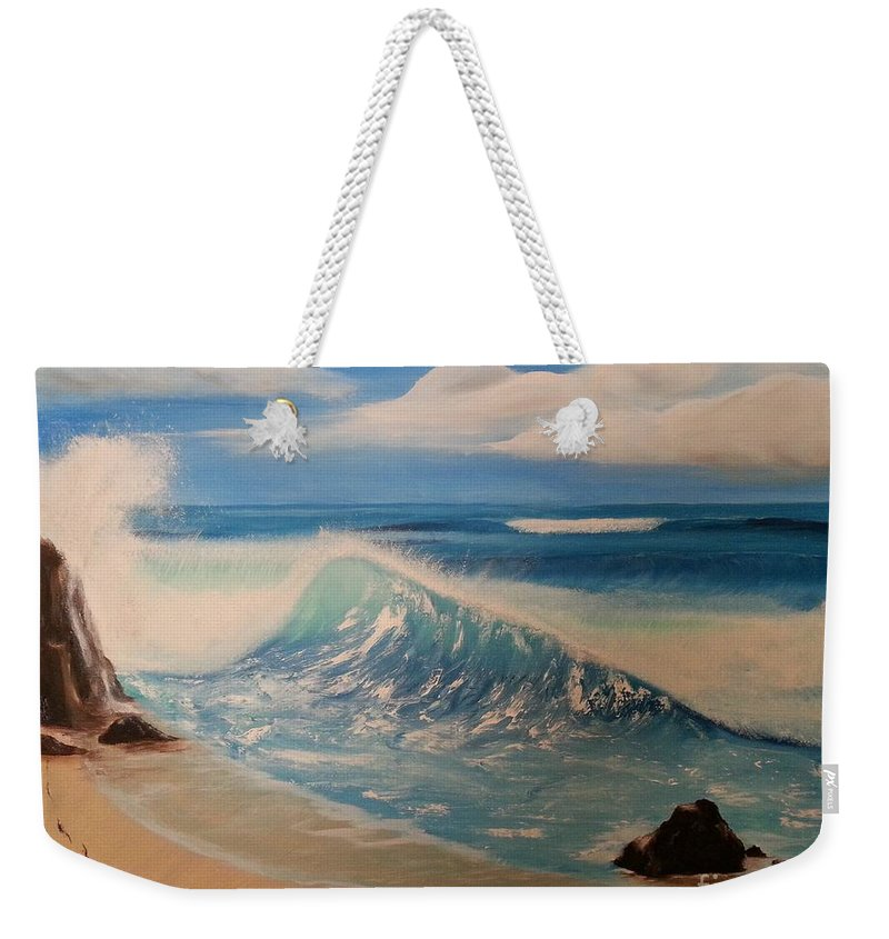 Wave Weekender Tote Bag featuring the painting The Wave by Bev Conover