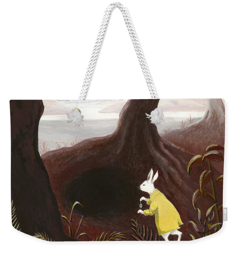 White Rabbit Weekender Tote Bag featuring the painting The White Rabbit by Suzette Broad