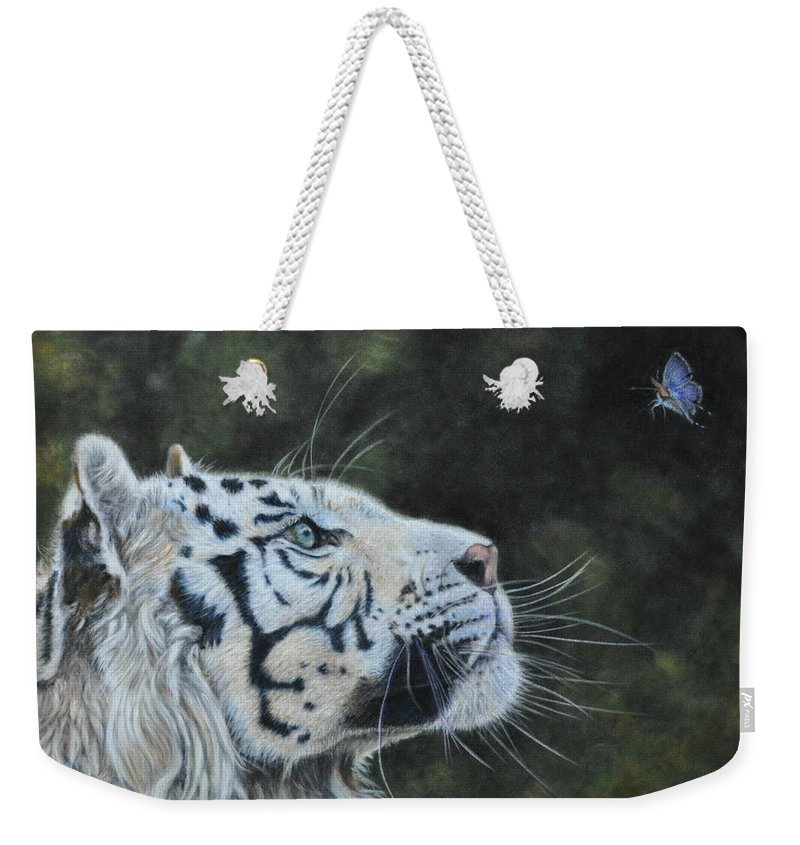 Tiger Weekender Tote Bag featuring the painting The White Tiger And The Butterfly by Louise Charles-Saarikoski