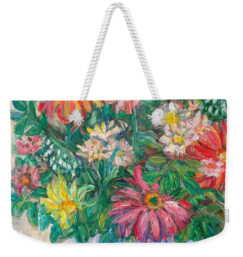 Still Life Weekender Tote Bag featuring the painting The White Vase by Kendall Kessler