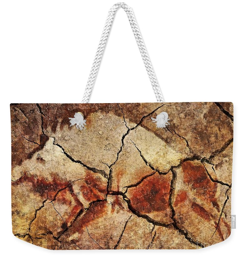 Animal Weekender Tote Bag featuring the digital art The Wild Boar-cave Art by Dragica Micki Fortuna