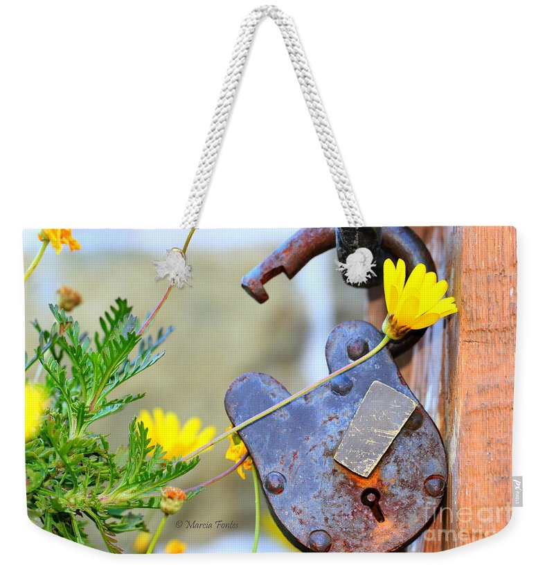 Padlock Weekender Tote Bag featuring the photograph The Wise Owl Padlock - Cambria California by Tap On Photo
