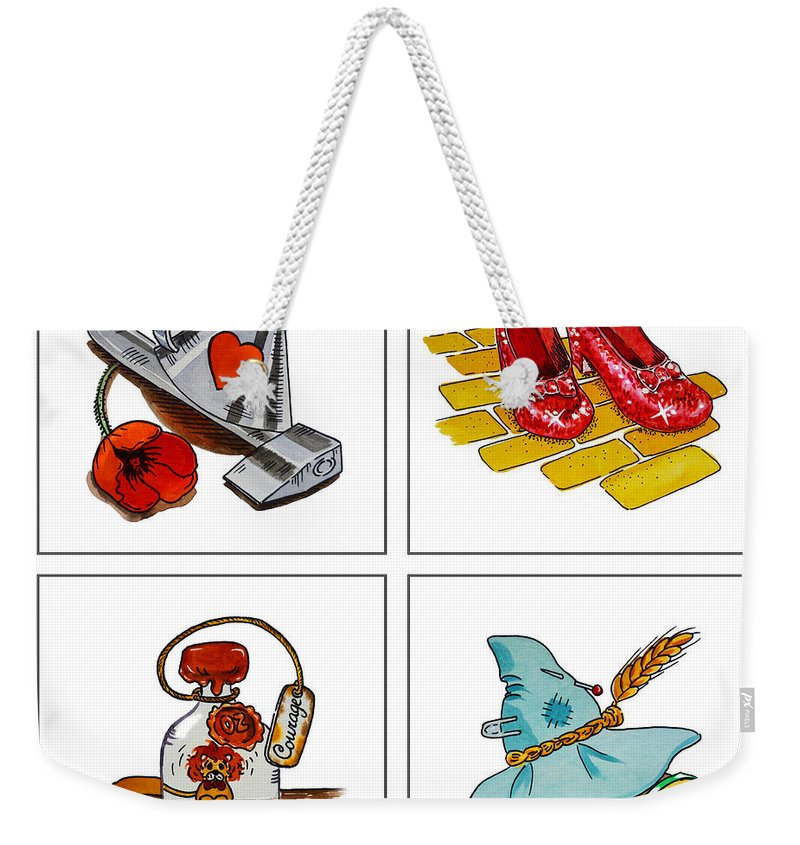 Wizard Of Oz Weekender Tote Bag featuring the painting The Wonderful Wizard Of Oz by Irina Sztukowski