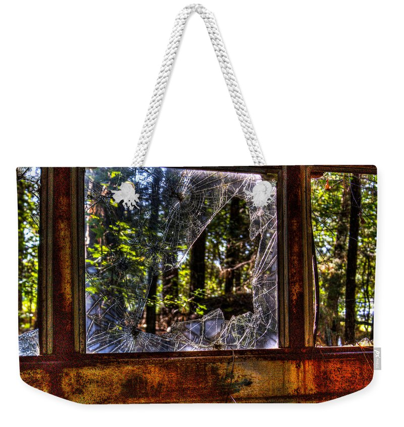 Window Weekender Tote Bag featuring the photograph The Woods Through A School Bus Window by Douglas Barnett