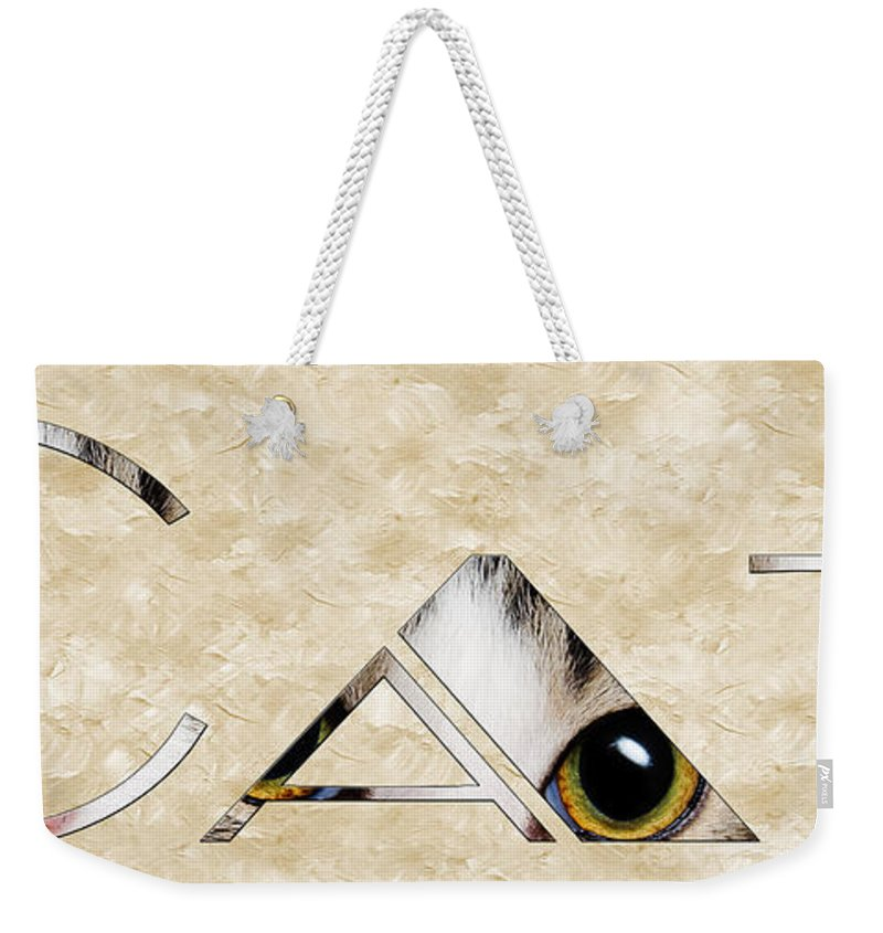 Cat Weekender Tote Bag featuring the mixed media The Word Is Cat by Andee Design