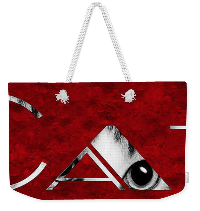 Andee Design Cat Weekender Tote Bag featuring the photograph The Word Is Cat Bw On Red by Andee Design