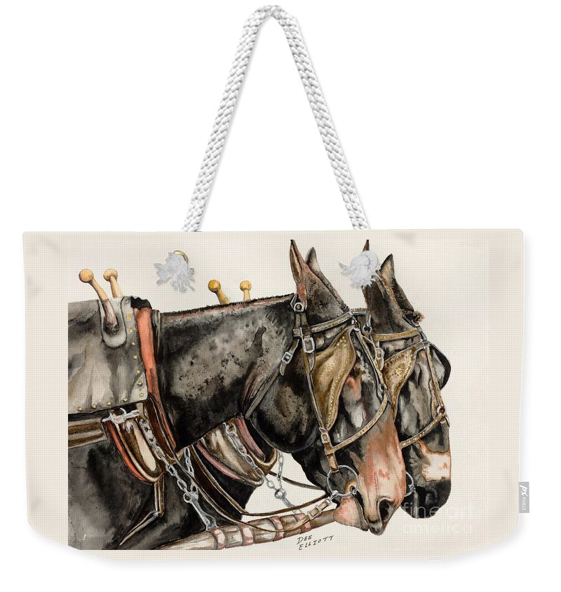 Mule Painting Weekender Tote Bag featuring the painting The Working Class by Dee Elliott