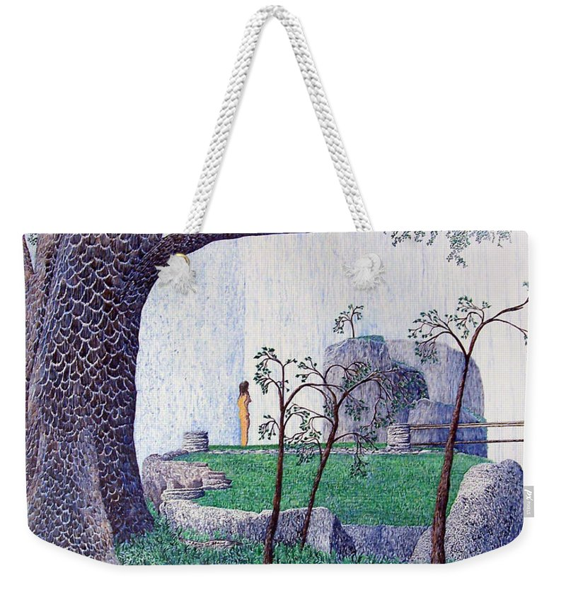 Landscape Weekender Tote Bag featuring the painting The Yearning Tree by A Robert Malcom