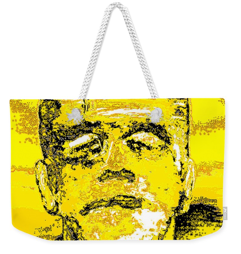 Digital Weekender Tote Bag featuring the digital art The Yellow Monster by Alys Caviness-Gober