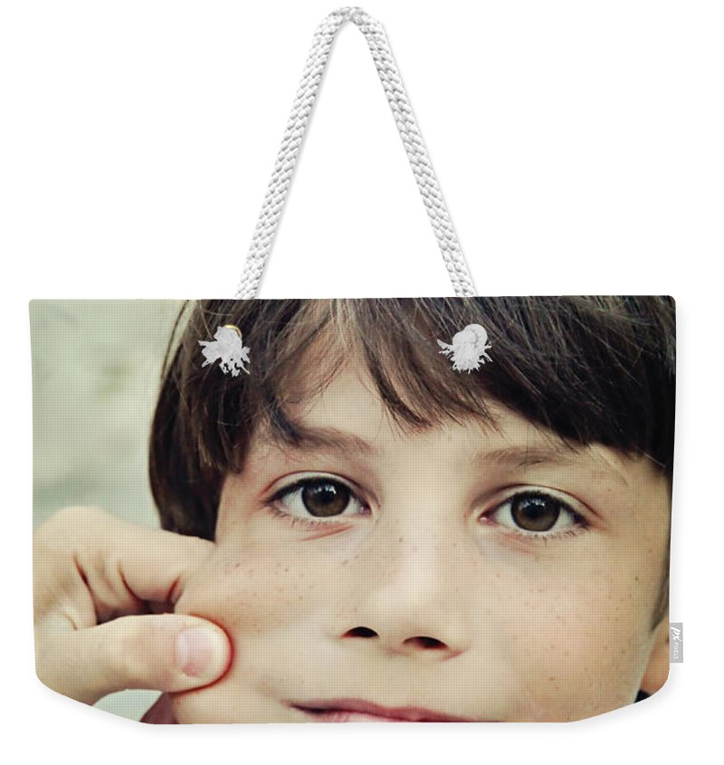 Boy Weekender Tote Bag featuring the photograph The Youngest by Jasna Buncic