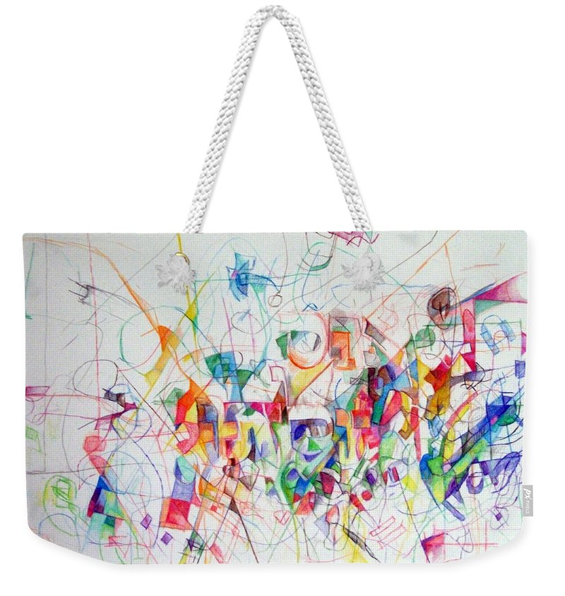 Weekender Tote Bag featuring the drawing There Is Nothing Besides Him 1 by David Baruch Wolk