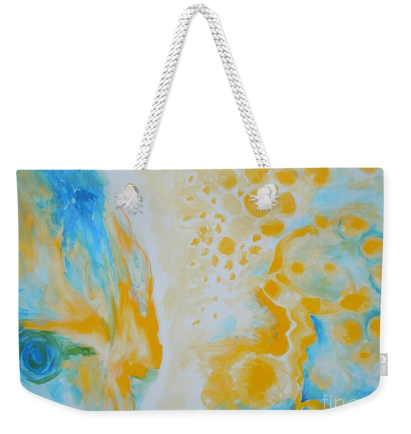 Circles Weekender Tote Bag featuring the painting There - Looking At Me by Tonya Henderson