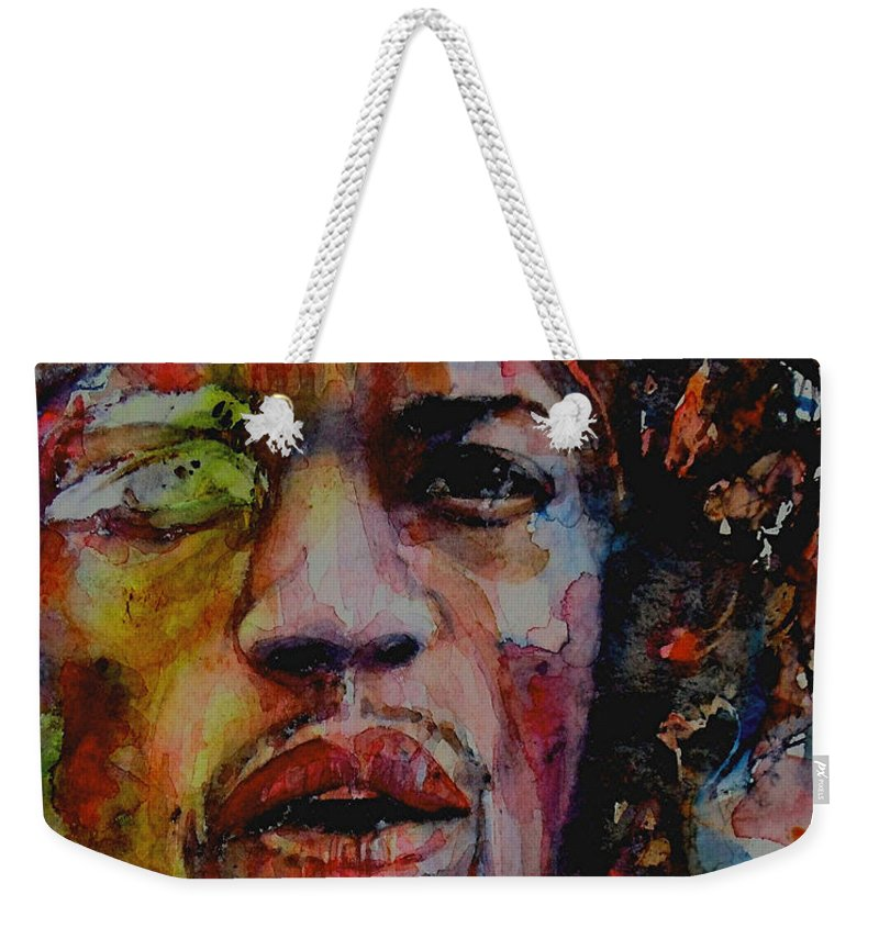 Hendrix Weekender Tote Bag featuring the painting There Must Be Some Kind Of Way Out Of Here by Paul Lovering