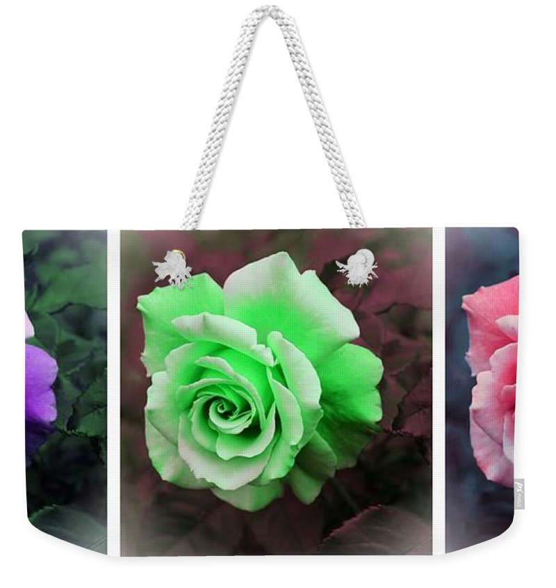 There Were Roses Triptych Weekender Tote Bag featuring the photograph There Were Roses Triptych by Barbara Griffin